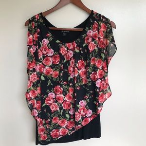 Beautiful Roses Pattern Blouse with black tank.